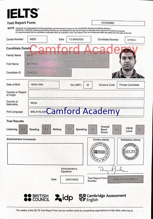 IELTS Coaching Centre in Kerala.Mr. Beepaul scores 8 in his IELTS Academic module. Camford Academy IELTS India.