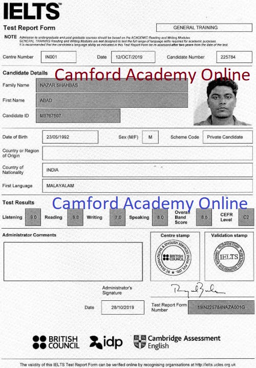 IELTS Coaching in Kerala -  Abad scores 8 in his IELTS Academic module. Camford IELTS India.